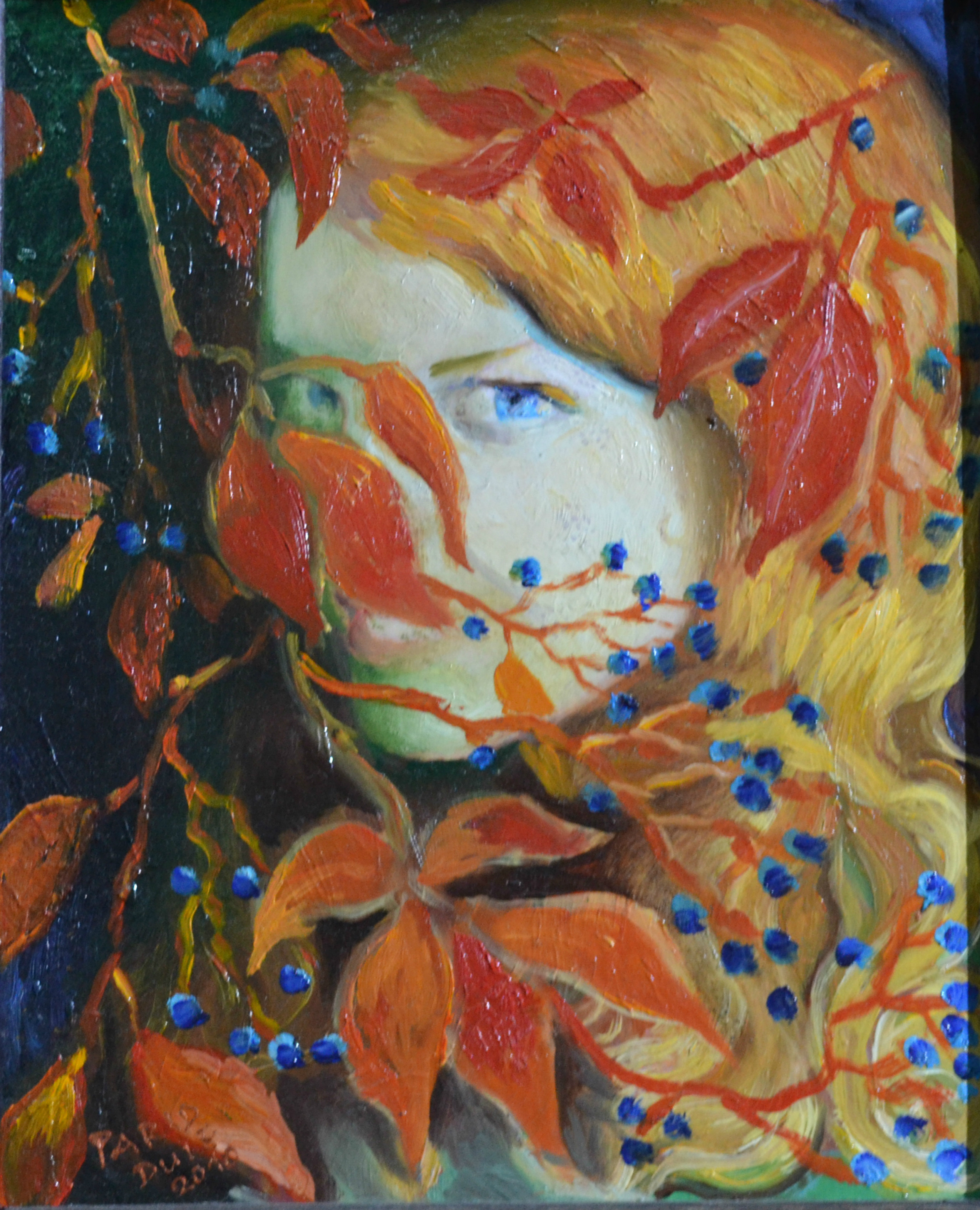 The girl with red leafs